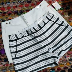 ELLE two pair of shorts, blk wht stripes & Ivory